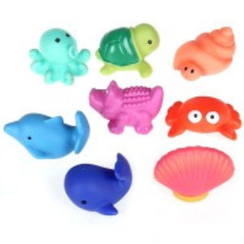 Set 8pcs Baby Infant Kids Bath Play Water Squeeze Toy Animals Gift - Default