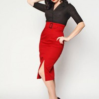 Vogue Pencil Skirt- Red - Skirts by Heartbreaker Fashion