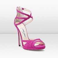 Jimmy Choo Fuchsia Suede Platform Sandal - &amp;#36;185.00