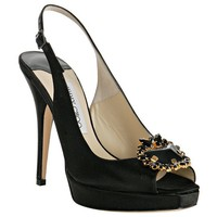 Jimmy Choo black satin Patience jeweled slingback pumps - $190.00