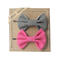 Black Stripes Pink - Hair Bows - Set of Two Bow Bobby Pins
