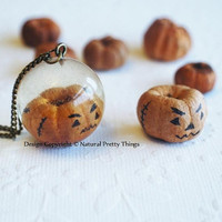 Real Pumpkin Halloween Necklace Mini Tiny Resin Globe Horror Specimen Dried Natural Jewellery Limited Edition