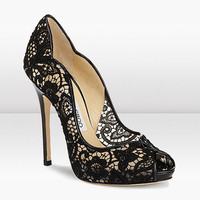 Jimmy Choo Lace Patent Platform Peep Toe Sandal - &amp;#36;185.00