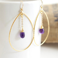 Amethyst Earrings, Gold Earrings, Large Earrings, Bridal Jewelry