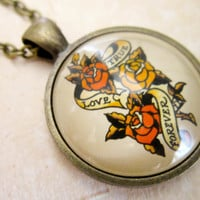Sailor Jerry Necklace - Rockabilly True Love Forever Tattoo Cabochon Pendant