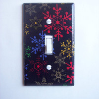 Multi Color Snowflakes Single Toggle Switchplate