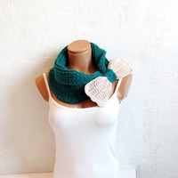 Knitted Bow Scarf Chunky Neck Warmer Teal Vanilla. Winter Fashion Knitted Cowl. Woman Accessory