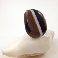 Fused  Glass Big Ring Adjustable Size Black Brown White  Statement Jewelry 012