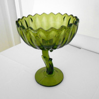 Green Glass Lotus Flower Art Deco Centerpiece Candy Dish
