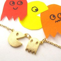 Namco Pac-man Arcade Ghost Allergy Free Necklace in Light Gold