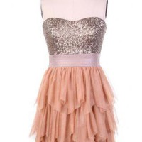 Champagne and Peach Ruffle Cocktail Dress with Sequins