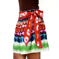 Autumn Retro Mini skirt in Colorful Tangerine Tango, Olympian Blue, Ultramarine Green, Pink Flambe and White  with Sash Belt