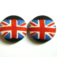 Button Earrings UK/British Flag