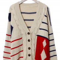 Contrast Strip Cable Knit Cardigan  - New Arrivals - Retro, Indie and Unique Fashion