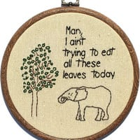 Weary Elephant Hand Embroidery by WhatParty on Etsy