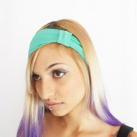 Elastic Hairband in Green Bow