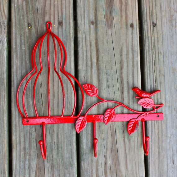 Whimsical Bathroom Wall Decor : Metal wall hook red bird cage shabby from aquaxpressions on