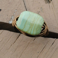Wire Wrapped Ring Bronze On Green