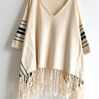Bat Sleeve Beige Sweater with Tassel  S003631