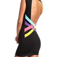 Pop Color Open-Back Dress: Charlotte Russe