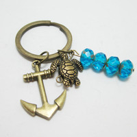Nautical Anchor and Sea Turtle Bronze Charm Keychain