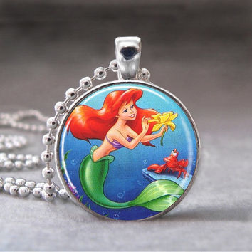 The Little Mermaid - 1 inch Round Art Pendant - no. 992-1