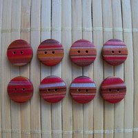 Polymer Clay Buttons, 1/2 inch, set of 8, Autumn browns red and gold
