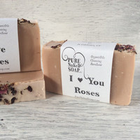 Love Roses Soap organic olive oil 100% all natural homemade cold process soap essential oil luxury bath soap gentle bare scent valentines