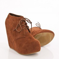 Camilla Wedge Boot in Chestnut - ShopSosie.com