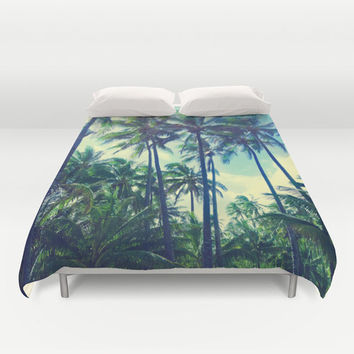 Decorative Duvet Cover with Vintage Palm Tree Personalized Hawaii Beach Cottage Green Old Tropical Home, tropical Bedding