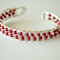 Ruby Red Pearl Weaved Cuff, Wire Wrapped, Bridal, Wedding
