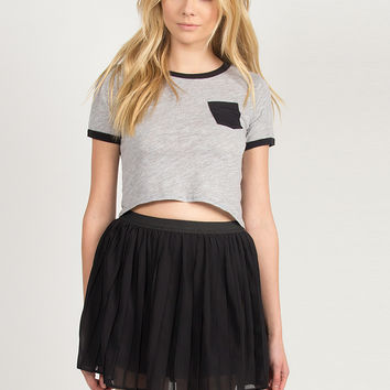 Contrast Pocket Cropped Tee - Black