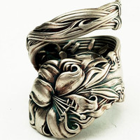 Spoon Ring Lovely Frontenac Victorian Era Sterling Ring, Lily Pattern Made in YOUR size (2709)