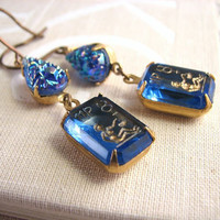 VIRGO rhinestone earrings vintage blue crystal by shadowjewels