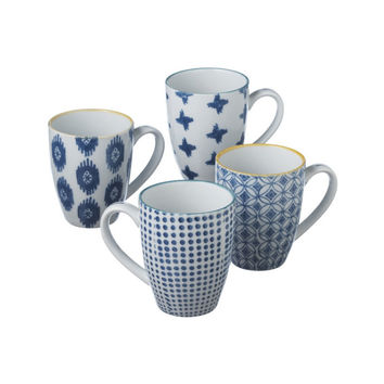 Touch of the Blues Hand-Painted Mugs - Set of 4