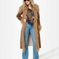BB Dakota Blinda Coat - Brown Coat - Vegan Suede Coat - Faux Fur Trim Coat - $142.00