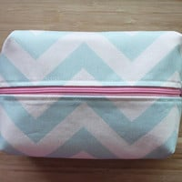 Cosmetic Bag / Makeup Bag / Large / Mist Blue Chevron