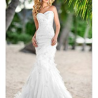 [$213.38 ] Sweetheart Mermaid Style Organza &amp; Satin Strapless Wedding Dress For Your Beach Wedding - Edressbridal.com