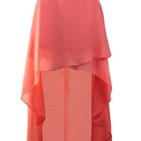 Pink Chiffon High Low Criss Cross Front Skirt - Sheinside.com