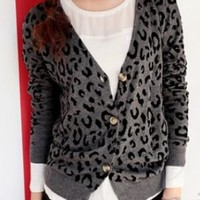 Black Spot V-neck Long Sleeve Grey Knitted Cardigan - Sheinside.com