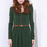 Green Vintage Long-sleeved Sweater Dress - Sheinside.com