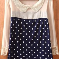 Navy Beige Polka Dot Long Sleeve Chiffon Blouse - Sheinside.com
