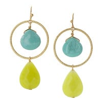 Turquoise Stone Circle Drop Statement Earrings - Turquoise