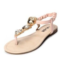 Pink PU Jewelled 10mm Sandals - Sheinside.com
