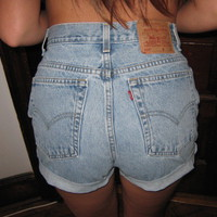 Vintage Retro LEVIS 550 Cut Off High Waisted Jean Shorts Denim Sz 10 Misses Rare