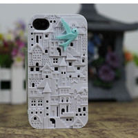 White  European Style Building With Resin Bird Hard Case Cover for Apple iPhone 4 Case, iPhone 4GS/4S Case-Front and Back Case