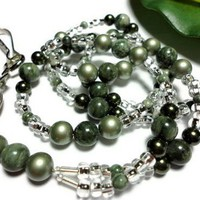 Lanyard Id Badge Jasper Crystal Pearl Green Angel Breakaway Custom