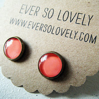 petite coral pink earrings - handmade salmon pink sparkly metallic nickel free small post earrings