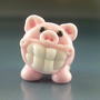 PORKCHOPS Pork Chops Grinning Pig Handmade Lampwork Glass Focal Bead SRA Gelly