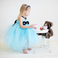 Tiffany Blue tutu dress with three flowers and a little bling